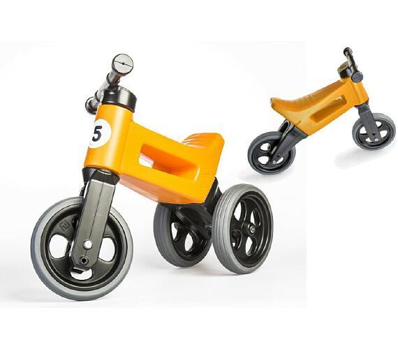 Odrážedlo oranžové FUNNY WHEELS 2v1 výška sedadla nastavitelná 28/31cm nosnost 50kg 18m+ v sáčku