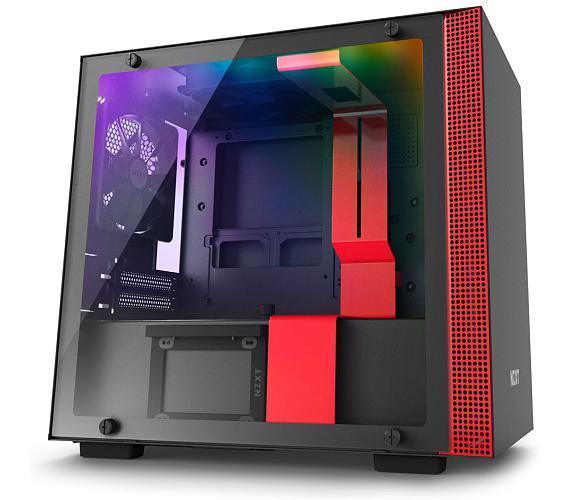 NZXT skříň H200i / mini ITX / průhledná bočnice / 2x USB 3.0 / RGB LED/Smart case s inteligentními funkcemi/černočervená (CA-H200W-BR + DOPRAVA ZDARMA