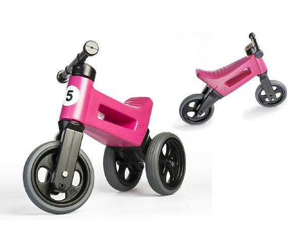Odrážedlo růžové FUNNY WHEELS 2v1 výška sedadla nastavitelná 28/31cm nosnost 50kg 18m+ v sáčku