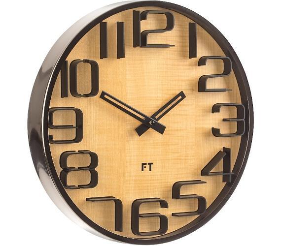 Designové nástěnné hodiny Future Time FT7010TT Numbers oak titanium 30cm + DOPRAVA ZDARMA