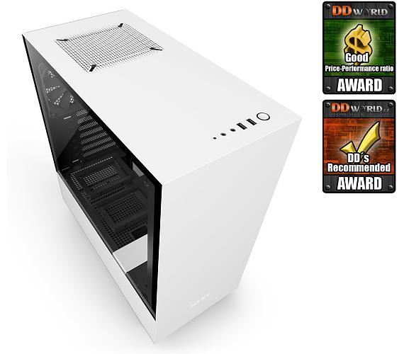 NZXT skříň H500 / ATX / průhledná bočnice / 2x USB 3.0 / bílá (CA-H500B-W1)