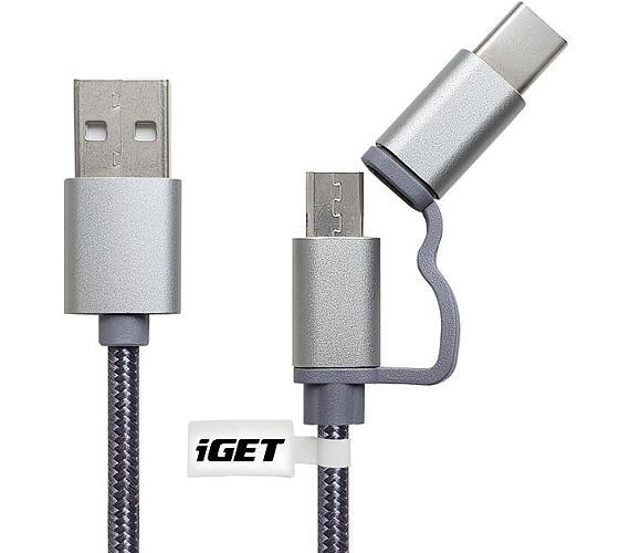 iGET G2V1 - USB kabel Micro USB/ USB - C dlouhý pro veškeré mobilní telefony