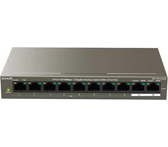 Tenda TEF1110P-8-102W PoE AT switch - 8x PoE 100 Mb/s + 2x Uplink 1 Gb/s