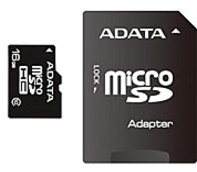 ADATA Micro SDHC karta 16GB Class 10 + SD adaptér (AUSDH16GCL10-RA1)