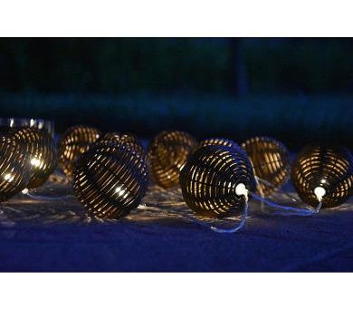 10 LED solární osvětlení - rattan koule