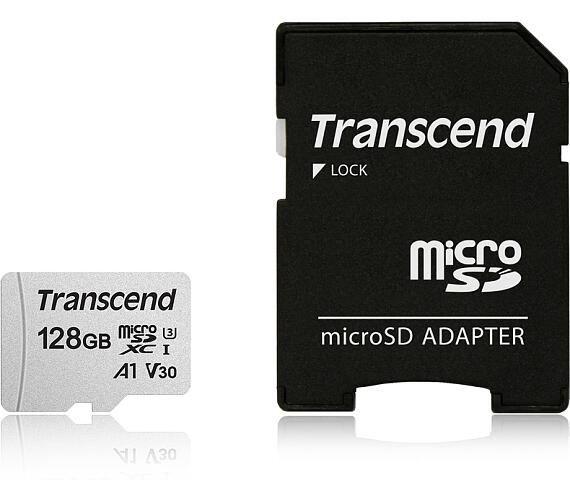 Transcend 128GB microSDXC 300S UHS-I U3 V30 A1 3D TLC (Class 10) paměťová karta (s adaptérem)