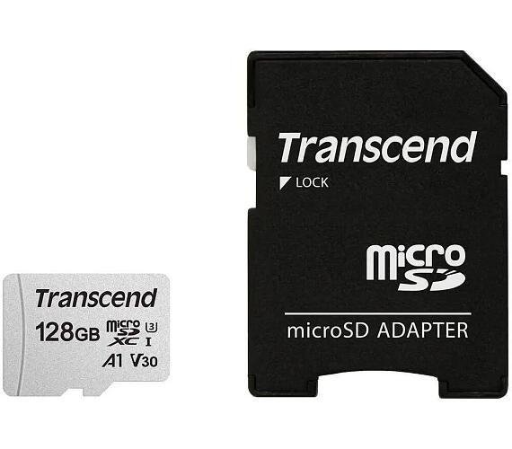 Transcend 128GB microSDXC 300S UHS-I U3 V30 A1 (Class 10) paměťová karta (s adaptérem)