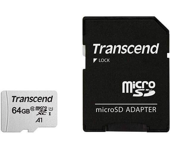 Transcend 64GB microSDXC 300S UHS-I U1 (Class 10) paměťová karta (s adaptérem) (TS64GUSD300S-A)
