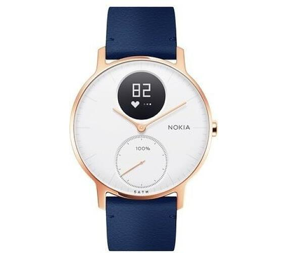 Nokia Steel HR (36mm) Rose Gold w/ Blue Leather + Grey Silicone wristband (36white-RG-L-Blue)