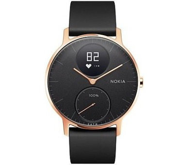 Nokia Steel HR (36mm) Rose Gold w/ Black Silicone wristband (36black-RG-S-Black)