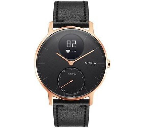 Nokia Steel HR (36mm) Rose Gold w/ Black Leather + Black Silicone wristband (36black-RG-L-Black)