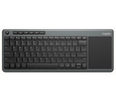Rapoo bezdrátová klávesnice K2600/ 2,4GHz/ Touchpad/ nízký zdvih/ USB/ černošedá/ CZ+SK layout (17996)
