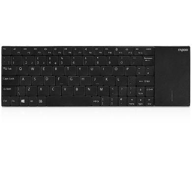 Rapoo bezdrátová klávesnice E2710/ 2,4GHz/ Touchpad/ nízký zdvih/ USB/ černá/ CZ+SK layout (17997)