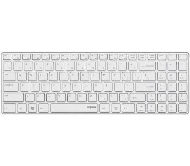 RAPOO bezdrátová klávesnice E9110/ 2,4GHz/ nízký zdvih/ USB/ bílá/ CZ+SK layout (17994)
