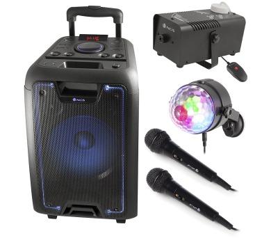 NGS MEGA PÁRTY BOX/ BT repro/ 120W/ LED koule/ 2x Mikrofon/ Přístroj na mlhu (MEGA PARTY BOX)