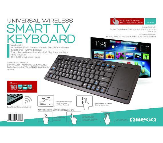 OMEGA bezdrátová US klávesnice s touch padem pro smart TV