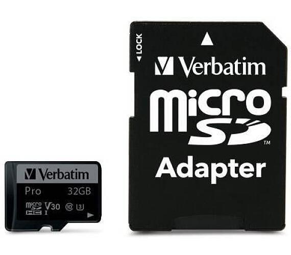 VERBATIM Pro U3 Micro SecureDigital SDHC/SDXC 32GB + SD Adaptér (47041)
