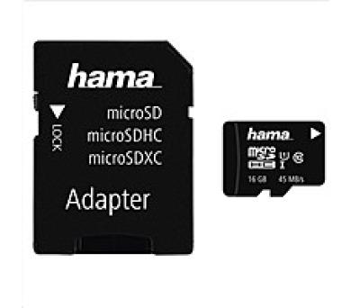 Hama microSDHC 16 GB Class 10 UHS-I 45 MB/s + Adapter/Mobile (114992)