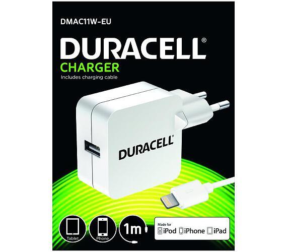 Duracell USB Nabíječka pro tablety & telefony 2,4A bílá včetně kabelu Lightning (DMAC11W-EU) + DOPRAVA ZDARMA