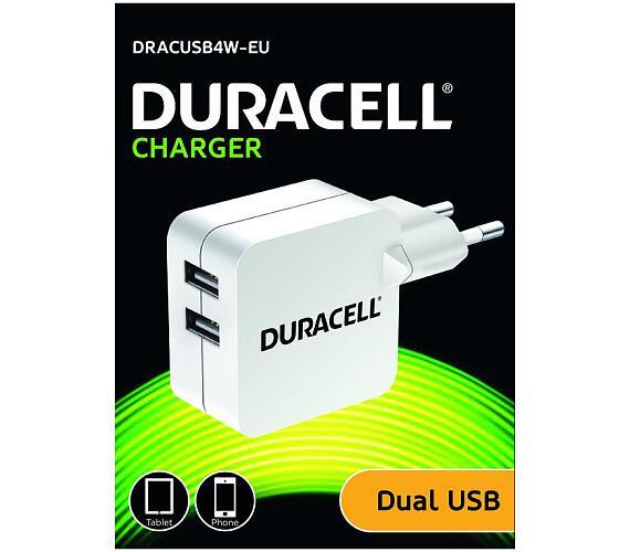 Duracell Dualní USB Nabíječka pro čtečky & telefony 2,4A bílá (DRACUSB4W-EU) + DOPRAVA ZDARMA