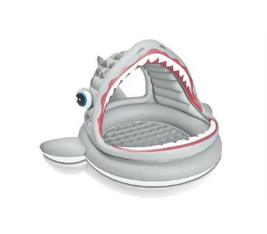 Bazén dětský žralok se stříškou nafukovací 201x198x109cm 2+ + DOPRAVA ZDARMA