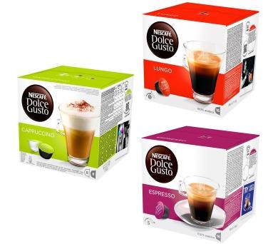 NESCAFÉ Cappuccino Dolce Gusto + Kapsle NESCAFÉ Caffe Lungo Dolce Gusto + Kapsle NESCAFÉ Espresso Dolce Gusto + kupte 3 balení a vyhrajte kávovar Infinissima