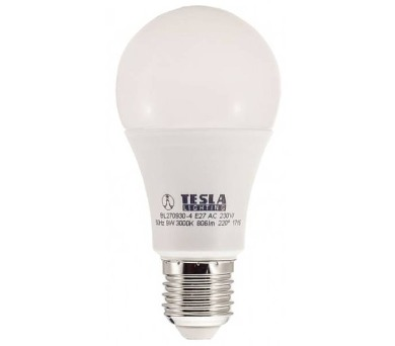 TESLA LED žárovka BULB/ E27/ 9W/ 230V/ 806lm/ 3000K/ teplá bílá (BL270930-4)