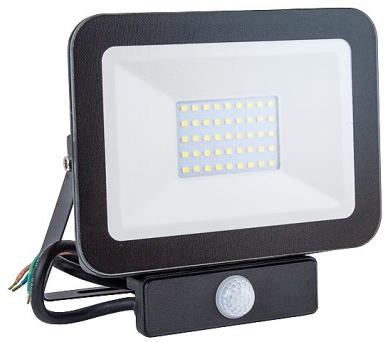 IMMAX LED reflektor Slim/ 30W/ 2700lm/ IP65/ 4000 - 4500K přírodní bílá/ PIR/ černý (08443L)