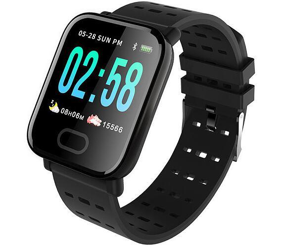 """IMMAX chytré hodinky SW11/ 1.3"""" OLED LCD/ NRF52832/ BT/ IP67/ kompatibilní s Android 4.4 / iOS 8.5 a vyšší/ černé (09016)"""