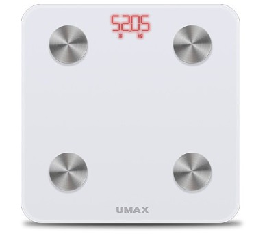 UMAX chytrá váha Smart Scale US20M/ 0,2 – 150 kg/ Bluetooth 4.0/ 6 tělesných parametrů/ čeština/ bílá (UB605)
