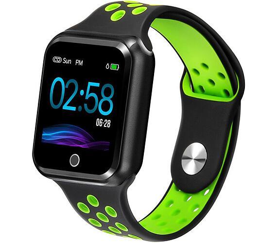 """IMMAX chytré hodinky SW10/ 1.3"""" TFT LCD/ NRF52832/ BT/ IP67/ komp. s Android 2.3 / iOS 4.0 a vyšší/ černo-zelené (09014)"""