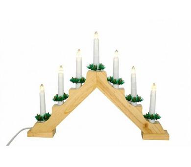 Vánoční svícen - DŘEVĚNÝ - přírodní