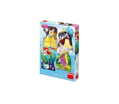 Puzzle Disney princezny 4x54 dílků 13x19cm v krabici 19x27x4cm