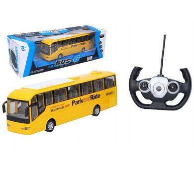 Autobus RC plast 28cm na dálkové ovládání + bateriový pack se světlem v krabici 40x13x13cm + DOPRAVA