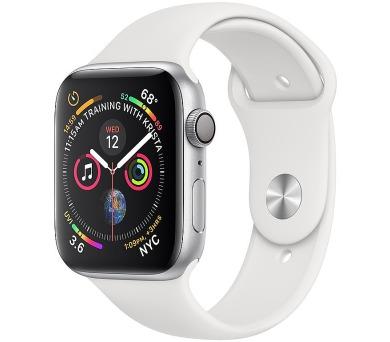 Apple Watch Series 4 GPS, 44mm Silver Aluminium Case with White Sport Band (mu6a2hc/a)