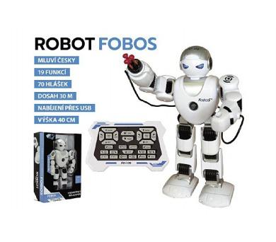 Robot RC FOBOS interaktivní chodící plast 40cm na baterie s USB v krabici 31x44x13cm CZ design +
