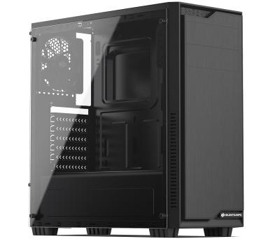 SilentiumPC skříň MidT Regnum RG1 TG Pure Black / průhledná bočnice / 2 x USB 3.0 / 120mm fan / černá (SPC216)