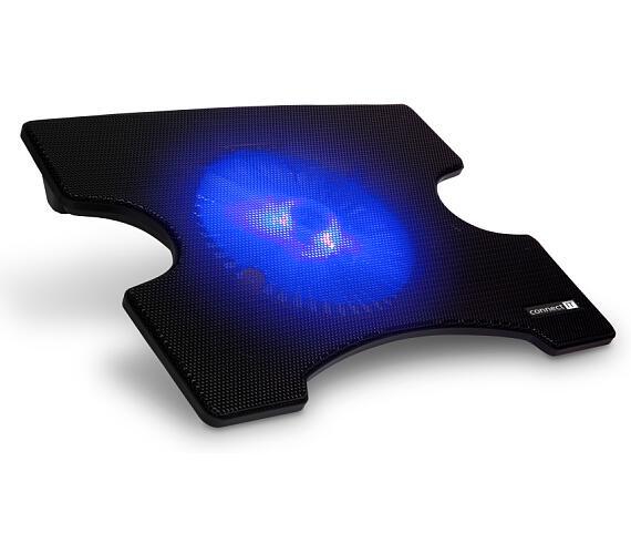 CONNECT IT Cool-ICE chladící podložka pod notebook,modré podsvícení ČERNÁ (CCP-1900-BK)