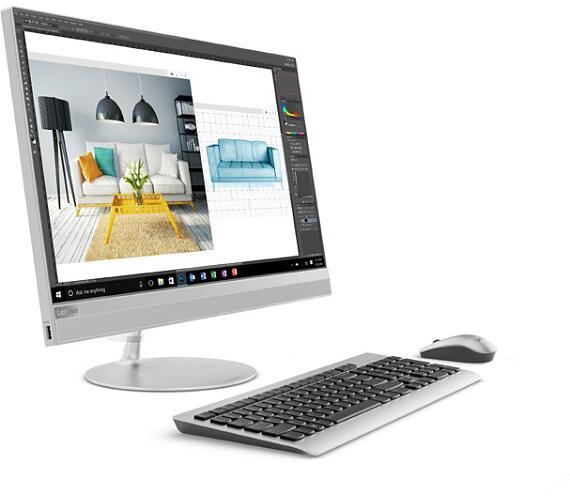 """Lenovo IdeaCentre AIO 520-24IKL i3-7020U 3,40GHz/4GB/SSD 256GB/23,8"""" FHD/DVD-RW/WIN10 stříbrná F0"""
