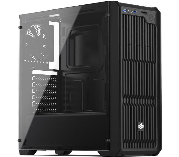 SilentiumPC skříň MidT Regnum RG2 TG Pure Black / průhledná bočnice / 2 x USB 3.0 / 2 x 120mm fan / černá (SPC217)