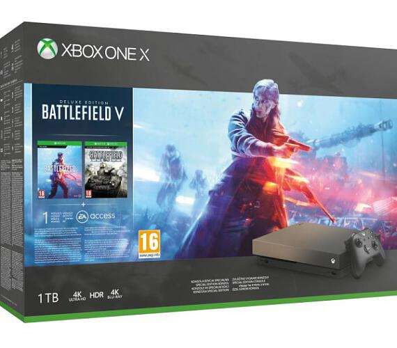 XBOX ONE X - 1TB Gold RUSH SE + Battlefield 5 DELUXE ! + Battlefield 1943 + 1 month EA Acces (FMP-00