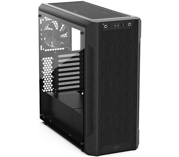 SilentiumPC skříň MidT Armis AR7 TG Black / 2x USB 3.0 / 3x 120mm fan / bočnice z tvrzeného skla / č