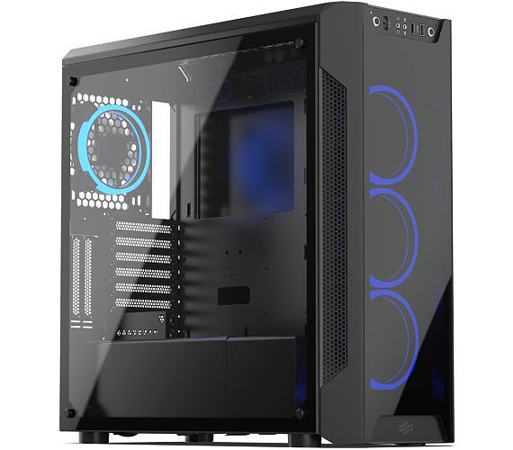 SilentiumPC skříň MidT Armis AR7X TG RGB / 2x USB 3.0/ 4x 120mm fan/ čelo a bok z tvrzeného skla/ RGB podsvícení/ černá (SPC213) + DOPRAVA ZDARMA