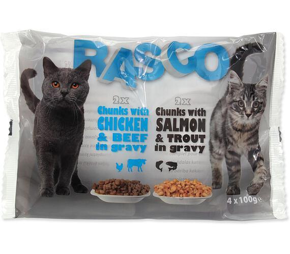 RASCO Cat s lososem a pstruhem / s kuřecím a hovězím multipack 400g
