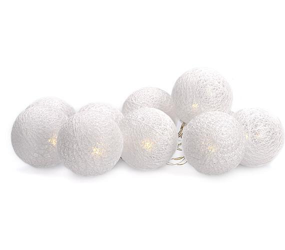 Solight LED řetěz vánoční koule bavlněné