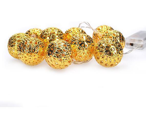 Solight LED řetěz vánoční koule zlaté