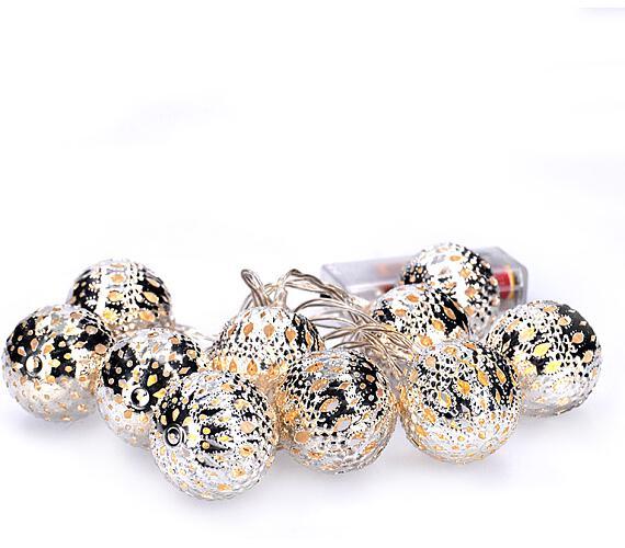 Solight LED řetěz vánoční koule stříbrné