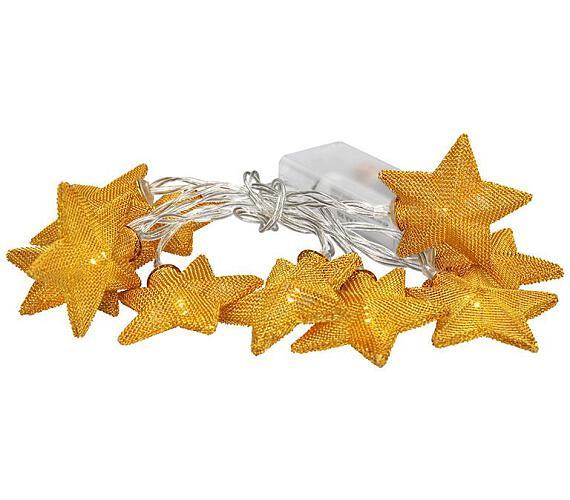 Solight LED řetěz vánoční hvězdy zlaté