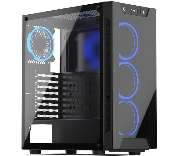 SilentiumPC skříň MidT Armis AR5X TG RGB / 2x USB 3.0/ 4x 120mm fan/ čelo a bok z tvrzeného skla/ RGB podsvícení/ černá (SPC212) + DOPRAVA ZDARMA