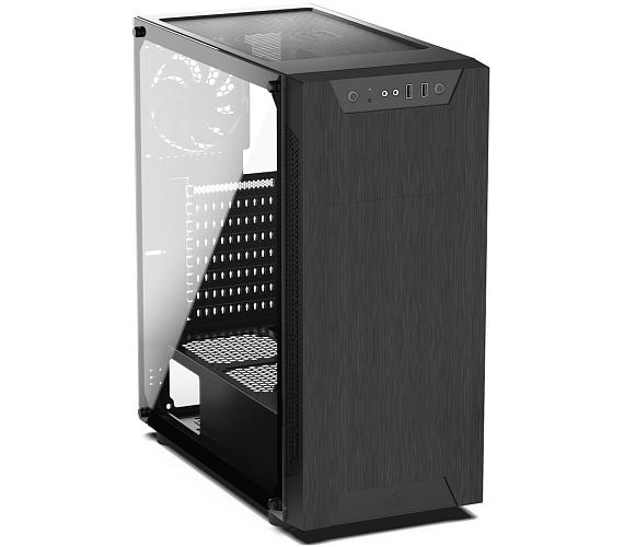 SilentiumPC skříň MidT Armis AR5 TG / 2x USB 3.0/ 2x 120mm fan/ bok z tvrzeného skla/ černá (SPC210)